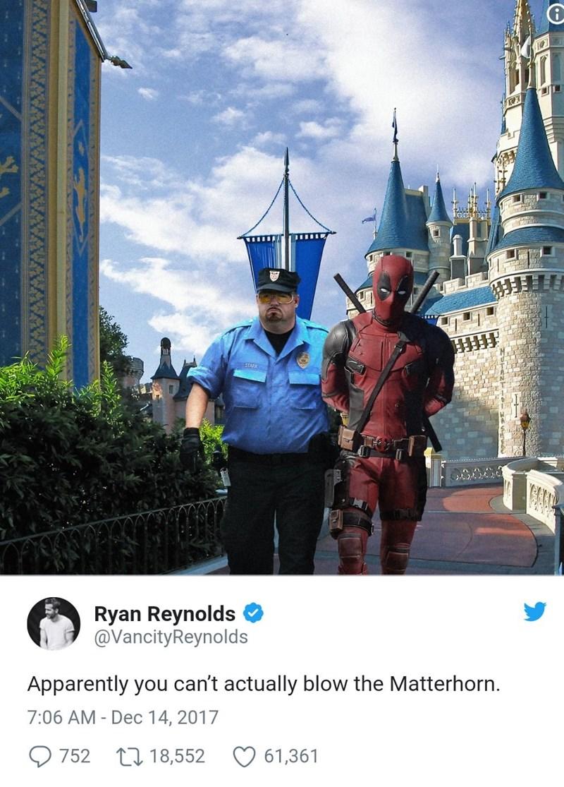 Tourism - Ryan Reynolds @VancityReynolds Apparently you can't actually blow the Matterhorn 7:06 AM - Dec 14, 2017 752 18,552 61,361