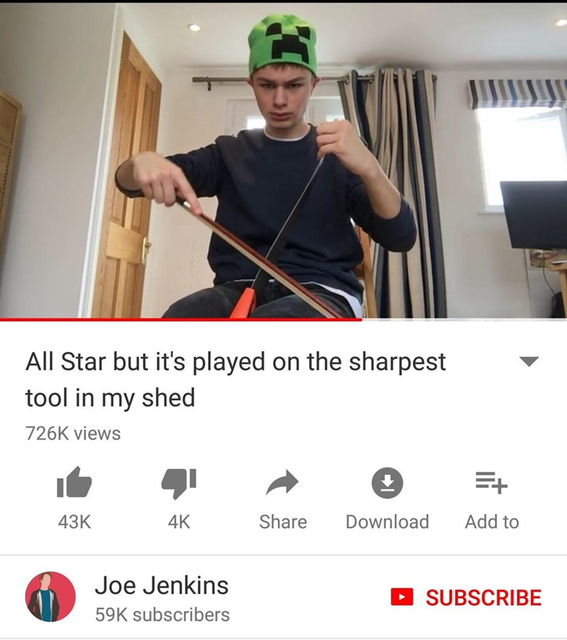 Shoulder - All Star but it's played on the sharpest tool in my shed 726K views E+ 4K Share Add to Download 43K Joe Jenkins SUBSCRIBE 59K subscribers