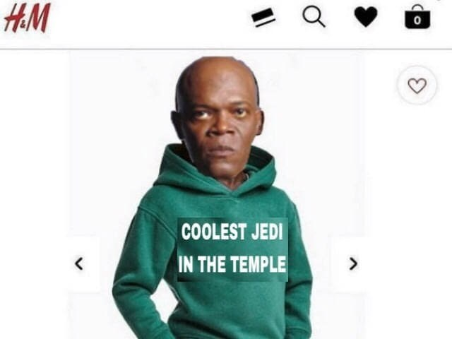 Funny meme about h&m ad amce windu star wars.