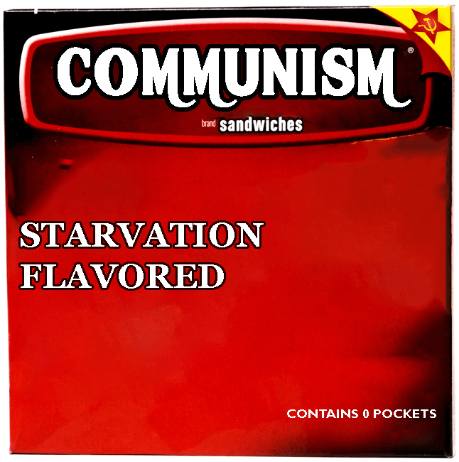 Text - COMMUNISM sandwiches brand STARVATION FLAVORED CONTAINS 0 POCKETS