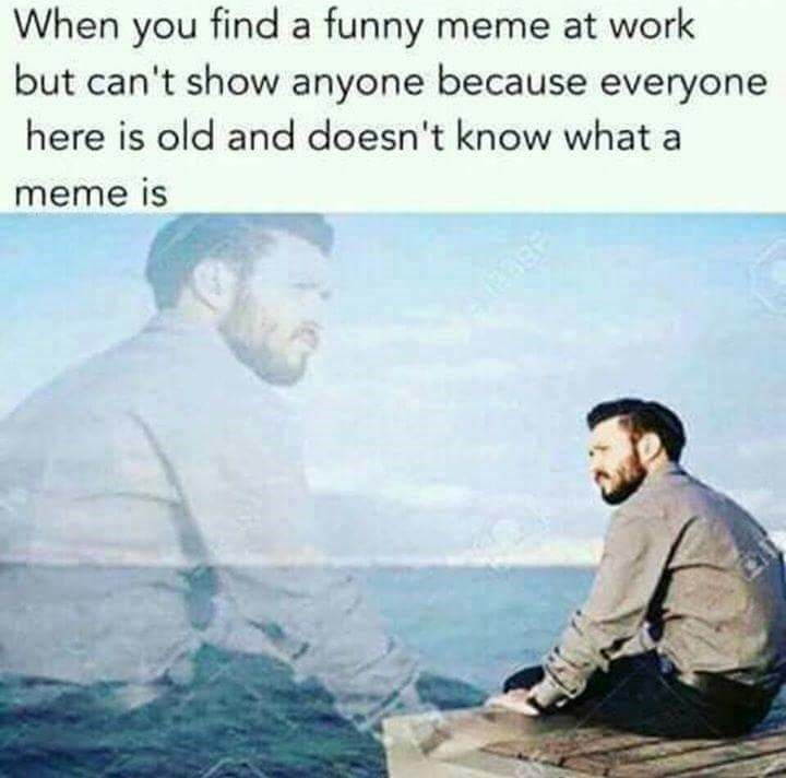 Text - When you find a funny meme at work but can't show anyone because everyone here is old and doesn't know what a meme is