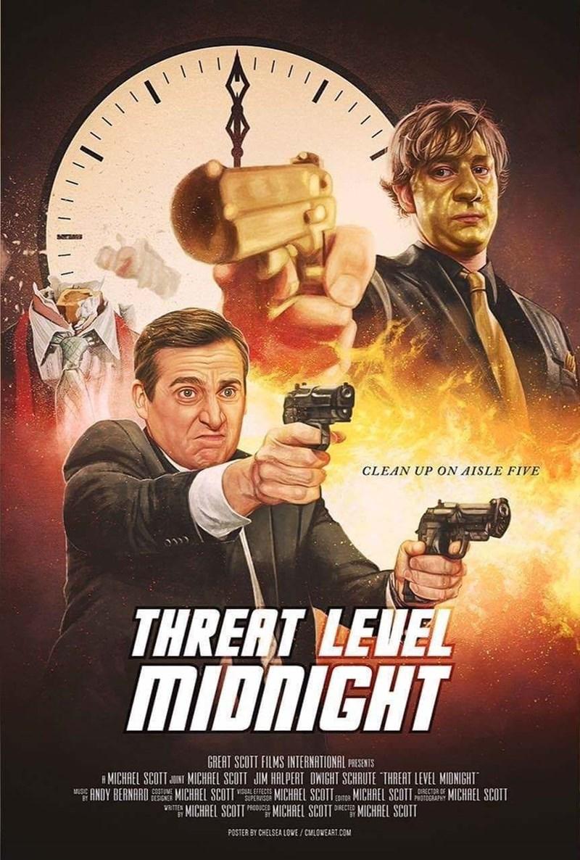 Movie - CLEAN UP ON AISLE FIVE THRERT LEUEL MIDNIGHT GREAT SCOTT FILMS INTERNATIONAL PRESENTS MICHAEL SCOTT N MICHAEL SCOTT JIM HALPERT OWIGHT SCHRUTE THREAT LEVEL MIDNIGHT MICHAEL SCOTT MUSIO MICHAEL SCOTT TEMICHAEL SCOTI MICHAEL SCOTT e MICHAEL SCOTT ANDY BERNARD VISUAL EFFECTS MICHAEL SCOTT ec MICHAEL SCOT. POSTER BY CHELSEA LOWE/ CMLOWEART.COM