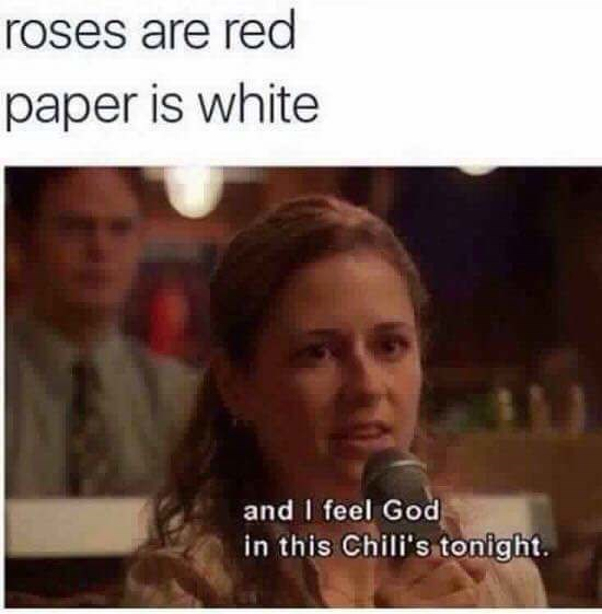 Photo caption - roses are red paper is white and I feel God in this Chili's tonight.