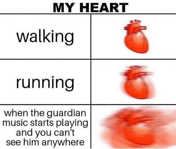 Organism - MY HEART walking running when the guardian music starts playing and you can't see him anywhere