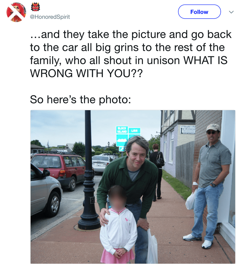 Adaptation - Follow @HonoredSpirit ...and they take the picture and go back to the car all big grins to the rest of the family, who all shout in unison WHAT IS WRONG WITH YOU?? So here's the photo: O Marphys Pat & Restauran BLOCK SLAND URR