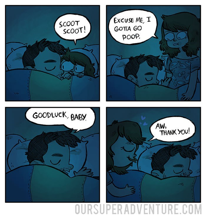 Comics - EXCUSE ME, I SCOOT SCOOT! GOTTA GO POOP. GOODLUCK, BABY AW, THANK YOu! OURSUPERADVENTURE.COM