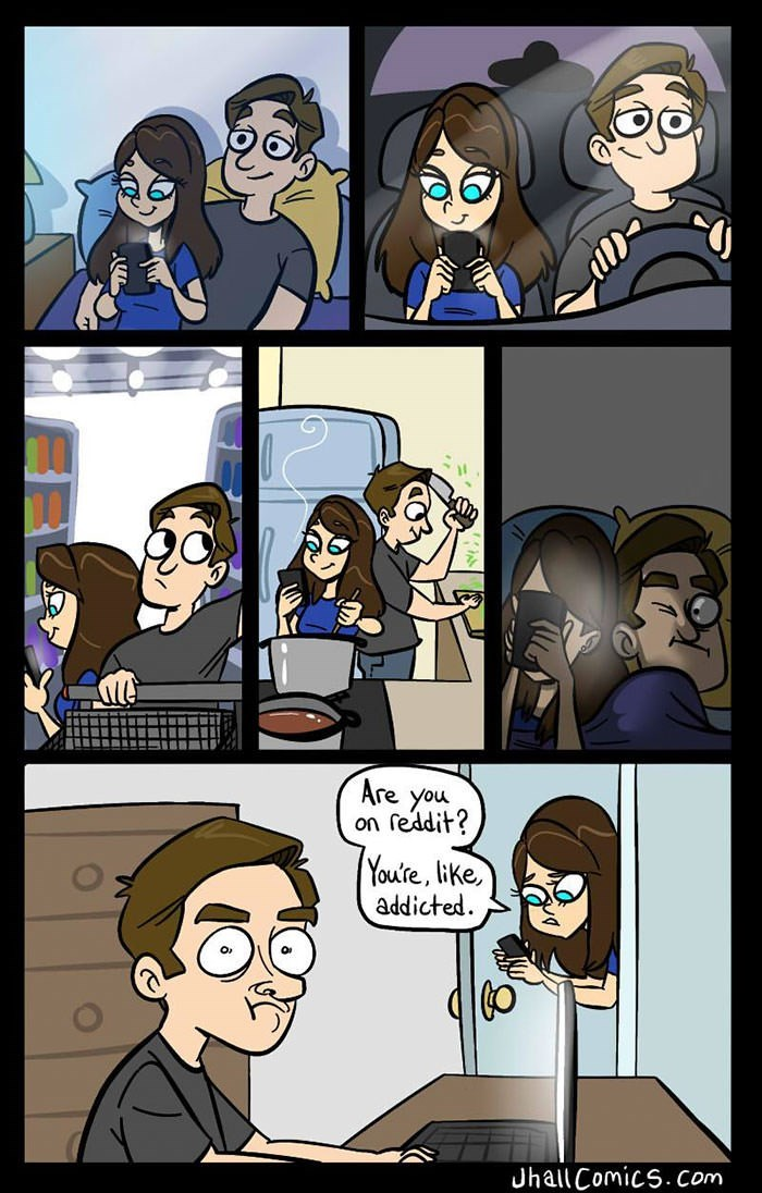 Cartoon - Are you on feddit? Youre, like, addicted Jhall Comics.com