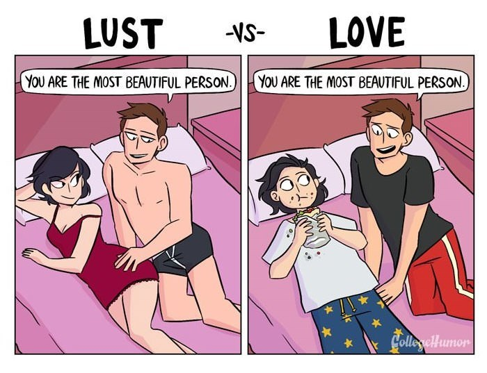 Cartoon - LUST LOVE -VS- YOU ARE THE MOST BEAUTIFUL PERSON. YOU ARE THE MOST BEAUTIFUL PERSON. LolleyelHumor