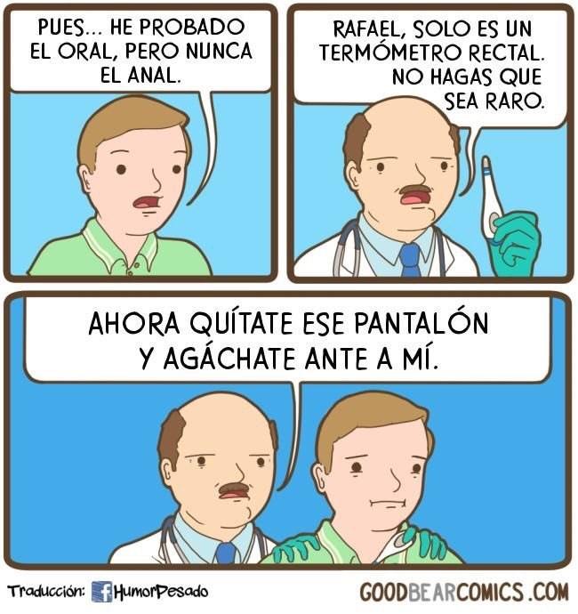 senor se manda a hacer un examen con termometro rectal