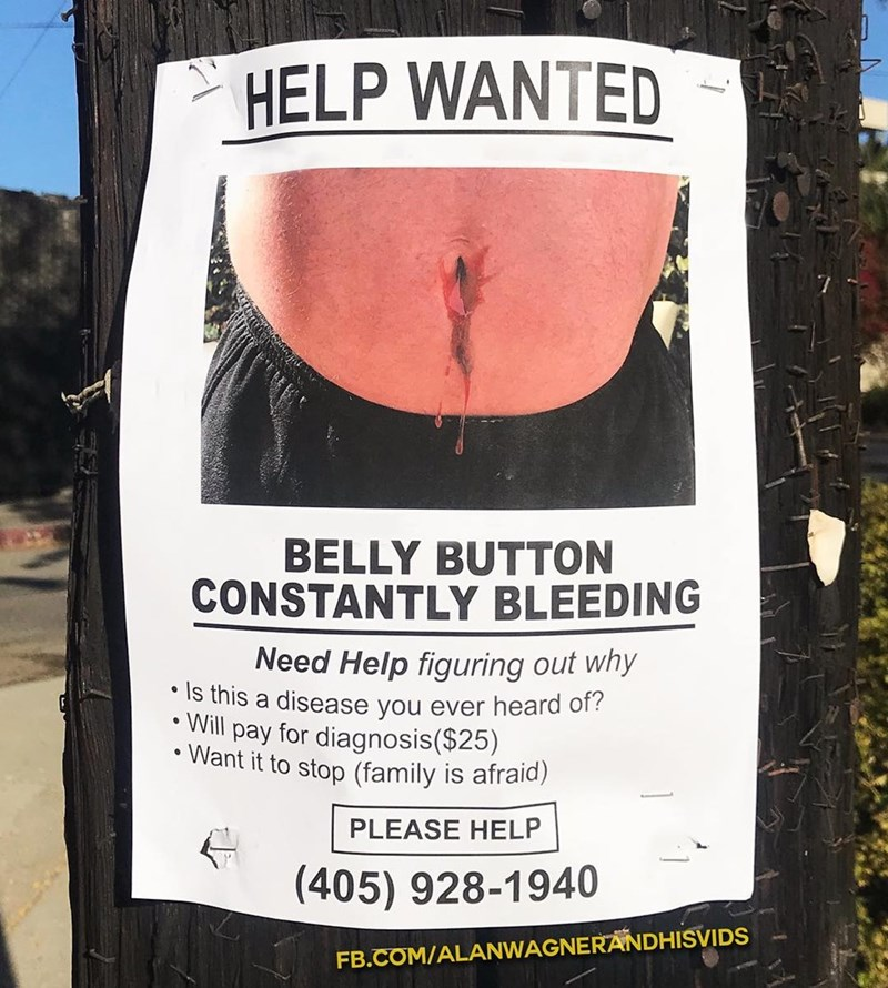 Poster - HELP WANTED BELLY BUTTON CONSTANTLY BLEEDING Need Help figuring out why is this a disease you ever heard of? Will pay for diagnosis($25) Want it to stop (family is afraid) PLEASE HELP (405) 928-1940 FB.COM/ALANWAGNERANDHISVIDS