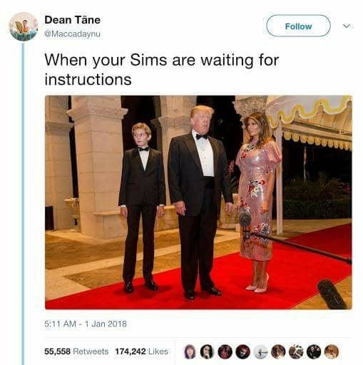 Suit - Dean Tane Follow Maccadaynu When your Sims are waiting for instructions 5:11 AM 1 Jan 2018 55,558 Retweets 174,242 Likes