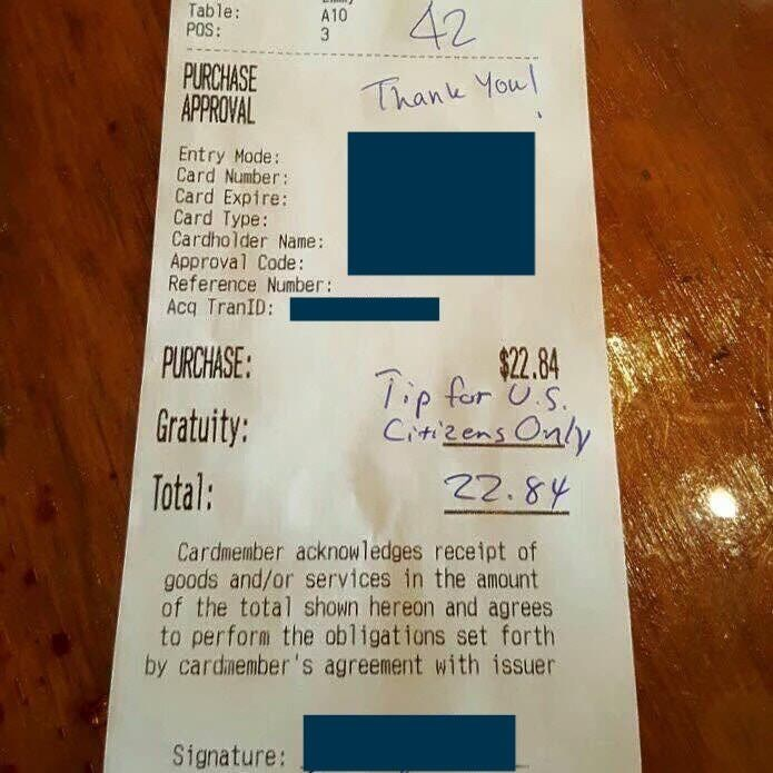Text - 42 Table: POS: A10 PURCHASE APPROVAL Thank Youl Entry Mode: Card Number: Card Expire: Card Type: Cardholder Name: Approval Code: Reference Number: Acq TranID: PURCHASE: $22.84 Tip for s Citizens Only Gratuity: 22.84 Total: Cardmember acknowledges receipt of goods and/or services in the amount of the total shown hereon and agrees to perform the obligations set forth by cardmember's agreement with issuer Signature:
