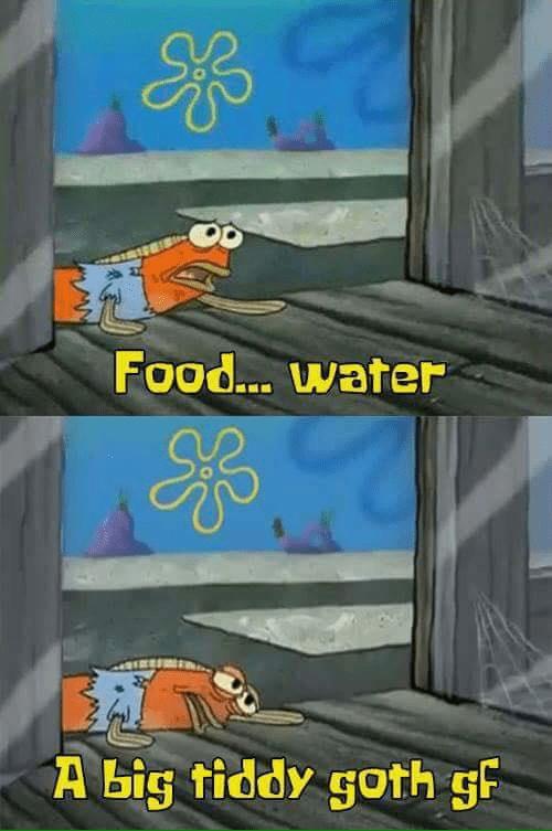 spongebob meme about goth gf