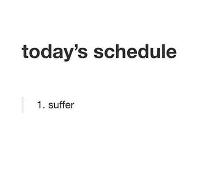 Text - today's schedule 1. suffer