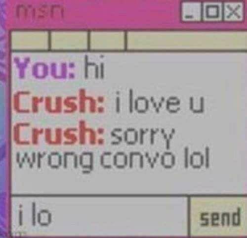Text - msn You: hi Crush: i love u Crush: sorry wrong convó lol i lo send