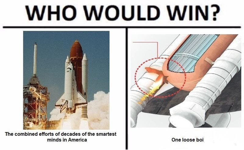 Rocket - WHO WOULD WIN? The combined efforts of decades of the smartest minds in America One loose boi