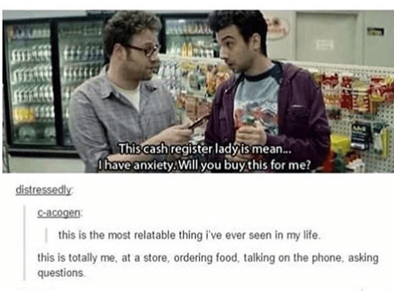 Facial expression - L This cash register ladyis mean... Phave anxiety. Will you buy this for me? distressedly Scacogen this is the most relatable thing i've ever seen in my life this is totally me, at a store, ordering food, talking on the phone, asking questions