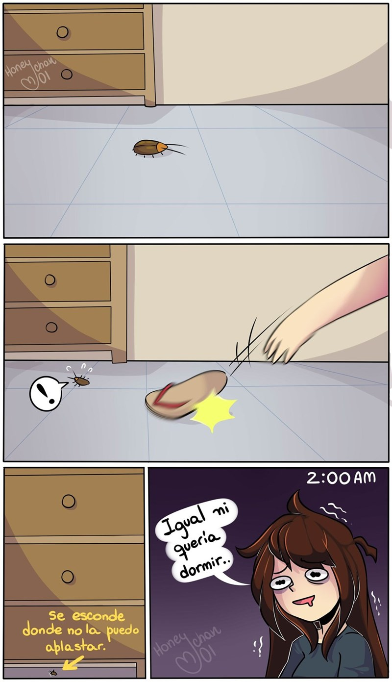 cuando no puedes matar la cucaracha y se esconde