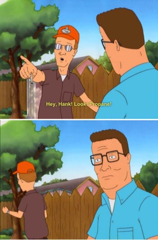 Animated cartoon - DrC Hey, Hank! Lookl Propane!
