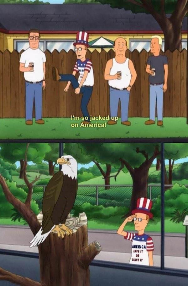Cartoon - I'm so jacked up on America! AMERICA LOVE IT LEAVE IT