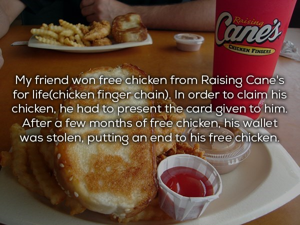 Friend who won free chicken for life from Raising Cane's but then lost his wallet with the gift card