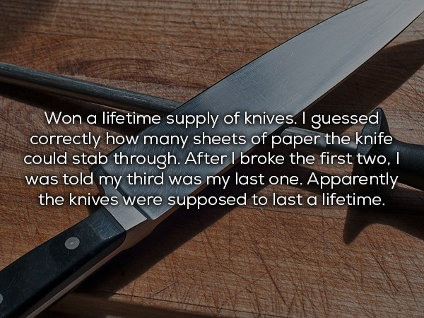 lifetime supply of knives