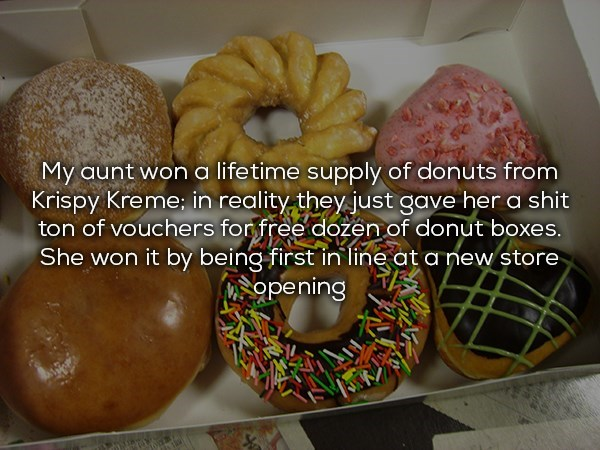 Lifetime supply of donuts is just a bunch of vouchers