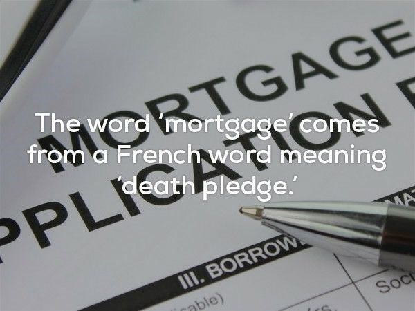 Font - TGAGE from a French word meaning The word mortgage comes death pledge. PLIC MA II. BORRO le) Soc