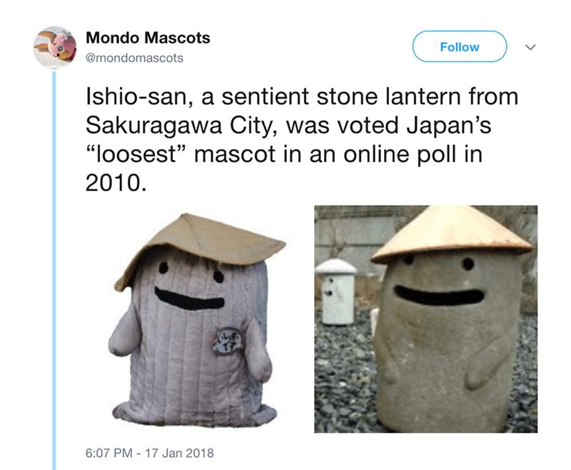 "japanese mascot - Birdhouse - Mondo Mascots Follow @mondomascots Ishio-san, a sentient stone lantern from Sakuragawa City, was voted Japan's ""loosest"" mascot in an online poll in 2010. 6:07 PM -17 Jan 2018"