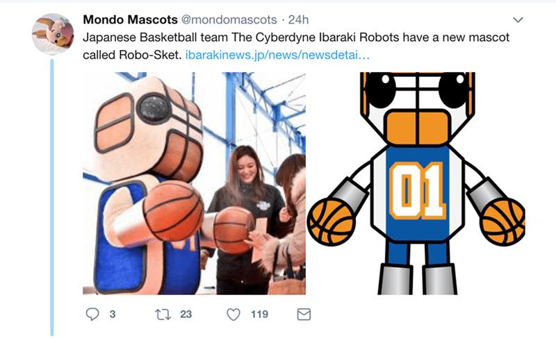 japanese mascot - Cartoon - Mondo Mascots@mondomascots 24h Japanese Basketball team The Cyberdyne Ibaraki Robots have a new mascot called Robo-Sket. ibarakinews.jp/news/newsdetai... D1 2 23 3 119