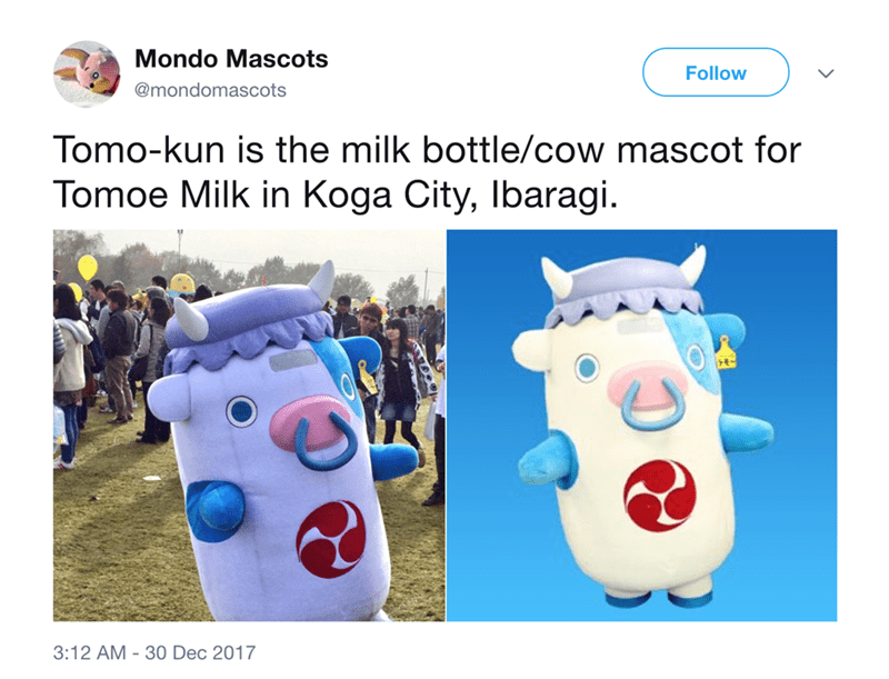 japanese mascot - Product - Mondo Mascots Follow @mondomascots Tomo-kun is the milk bottle/cow mascot for Tomoe Milk in Koga City, Ibaragi 3:12 AM 30 Dec 2017