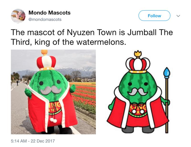 japanese mascot - Cartoon - Mondo Mascots Follow @mondomascots The mascot of Nyuzen Town is Jumball The Third, king of the watermelons. 5:14 AM 22 Dec 2017