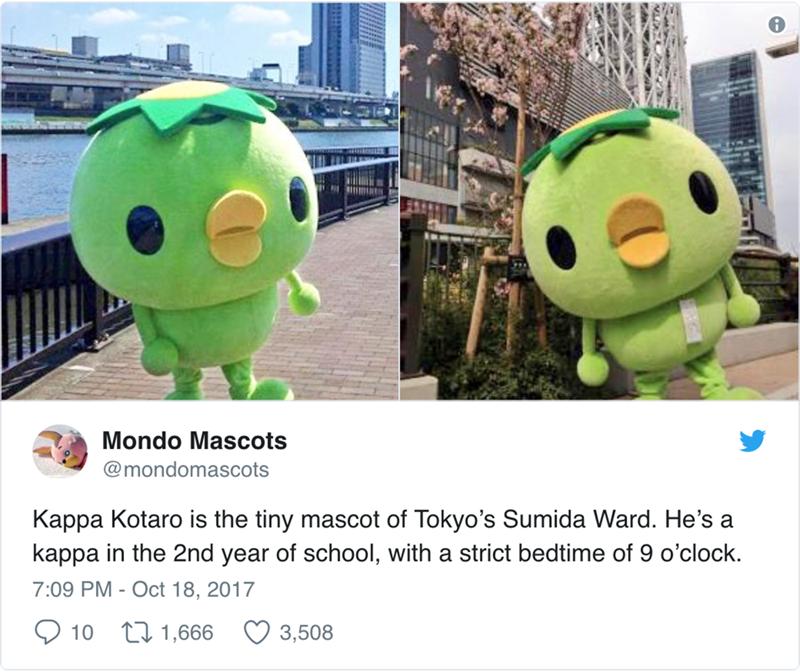japanese mascot - Cartoon - Mondo Mascots @mondomascots Kappa Kotaro is the tiny mascot of Tokyo's Sumida Ward. He's a kappa in the 2nd year of school, with a strict bedtime of 9 o'clock 7:09 PM Oct 18, 2017 t1,666 3,508 10
