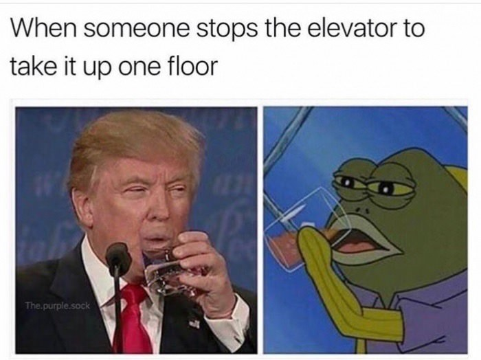 Cartoon - When someone stops the elevator to take it up one floor The.purple.sock