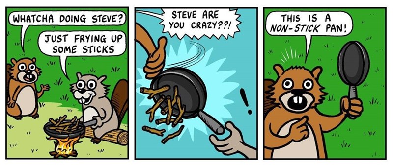 Cartoon - STEVE ARE YOU CRAZY??! WHATCHA DOING STEVE? THIS IS A NON-STICK PAN! JUST FRYING UP SOME STICKS