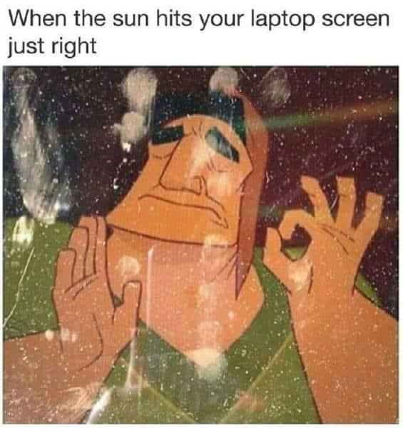 Text - When the sun hits your laptop screen just right