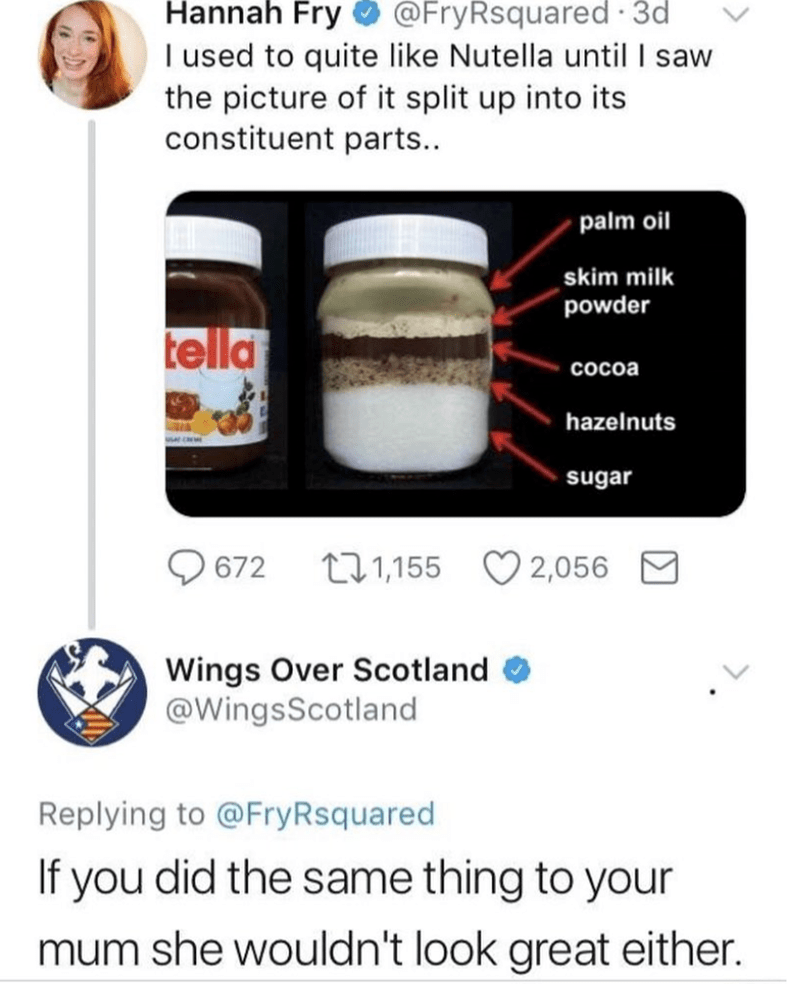 Font - Hannah Fry I used to quite like Nutella until I saw the picture of it split up into its constituent parts.. @FryRsquared 3d palm oil skim milk powder tella Cocoa hazelnuts sugar t1,155 672 2,056 Wings Over Scotland @WingsScotland Replying to @FryRsquared If you did the same thing to your mum she wouldn't look great either.