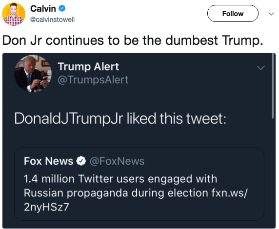 Text - Calvin Follow @calvinstowell Don Jr continues to be the dumbest Trump. Trump Alert @TrumpsAlert DonaldJ TrumpJr liked this tweet: Fox News @FoxNews 1.4 million Twitter users engaged with Russian propaganda during election fxn.ws/ 2ny HSz7
