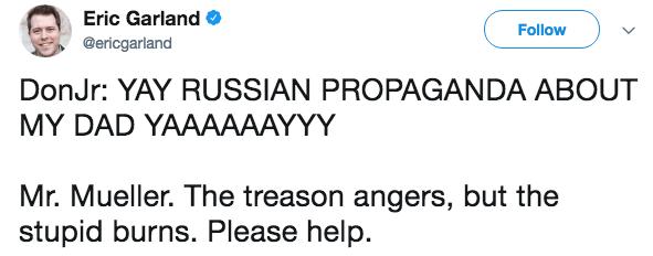 Text - Eric Garland Follow @ericgarland DonJr: YAY RUSSIAN PROPAGANDA ABOUT MY DAD YAAAAAAYYY Mr. Mueller. The treason angers, but the stupid burns. Please help.