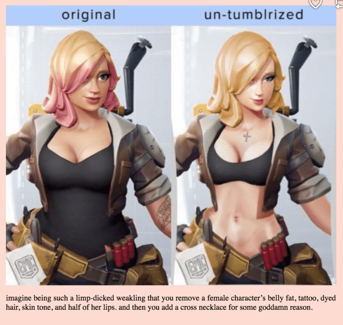 Fictional character - original un-tumblrized imagine being such a limp-dicked weakling that you remove a female character's belly fat, tattoo, dyed hair, skin tone, and half of her lips. and then you add a cross necklace for some goddamn reason.