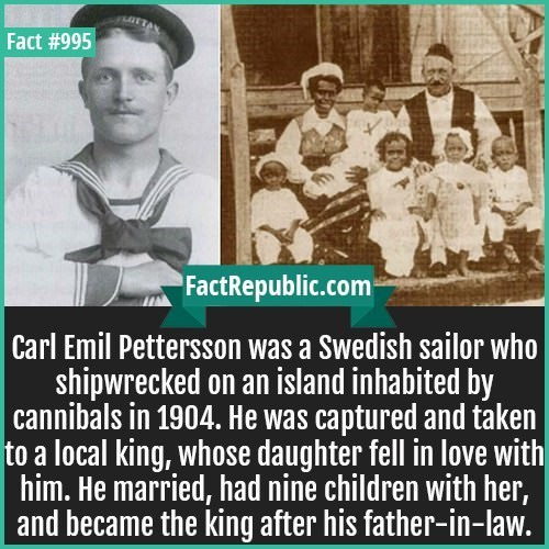 Text - LTTA Fact #995 FactRepublic.com Carl Emil Pettersson was a Swedish sailor who shipwrecked on an island inhabited cannibals in 1904. He was captured and taken to a local king, whose daughter fell in love with him. He married, had nine children with her, and became the king after his father-in-law.