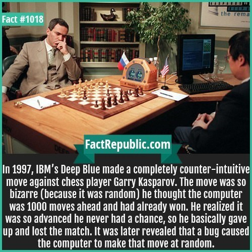 Indoor games and sports - the rema Fact #1018 FactRepublic.com In 1997, IBM's Deep Blue made a completely counter-intuitive move against chess player Garry Kasparov. The move was so bizarre (because it was random) he thought the computer was 1000 moves ahead and had already won. He realized it was so advanced he never had a chance, so he basically gave up and lost the match. It was later revealed that a bug caused the computer to make that move at random.