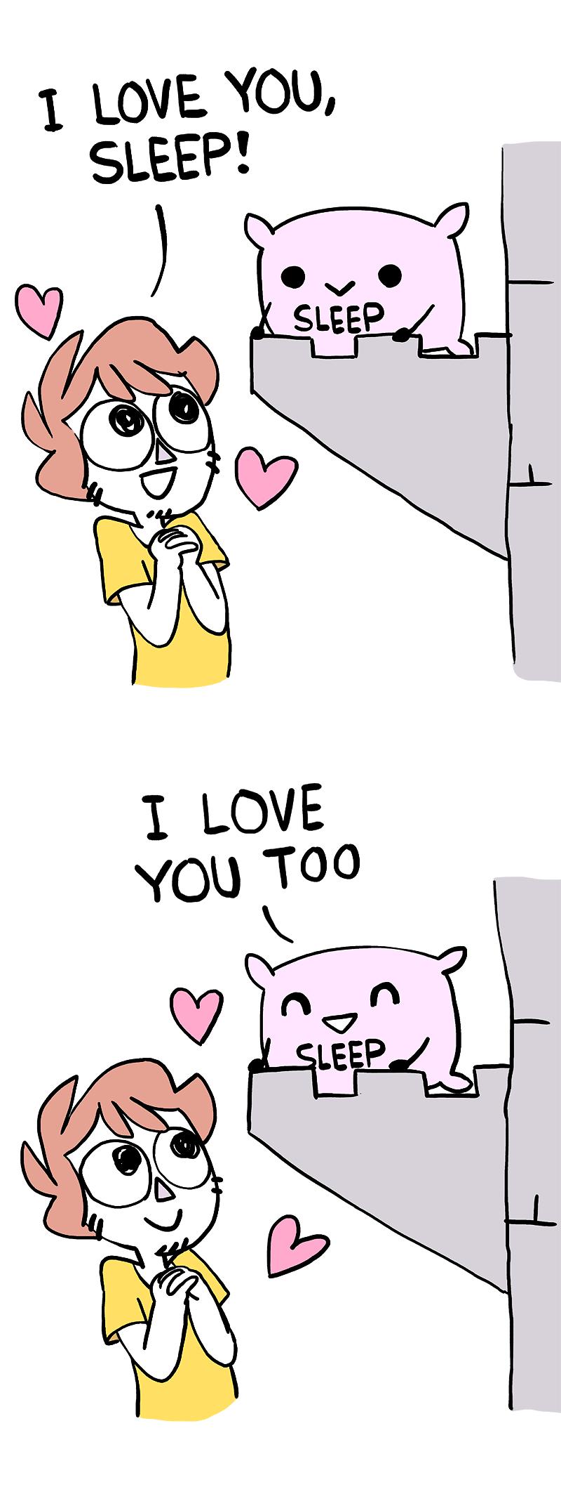 Cartoon - I LOVE YOU, SLEEP! SLEEP I LOVE YOU TOO SLEEP