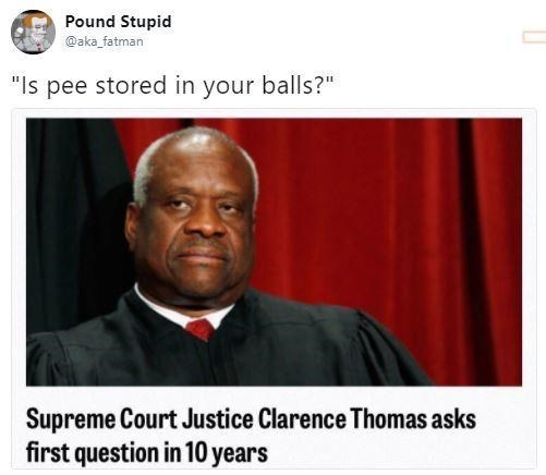 "memes - Photo caption - Pound Stupid @aka fatman ""Is pee stored in your balls?"" Supreme Court Justice Clarence Thomas asks first question in 10 years"