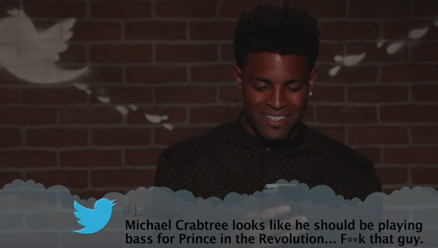 Text - @J Michael Crabtree looks like he should be playing bass for Prince in the Revolution... F**k that guy.