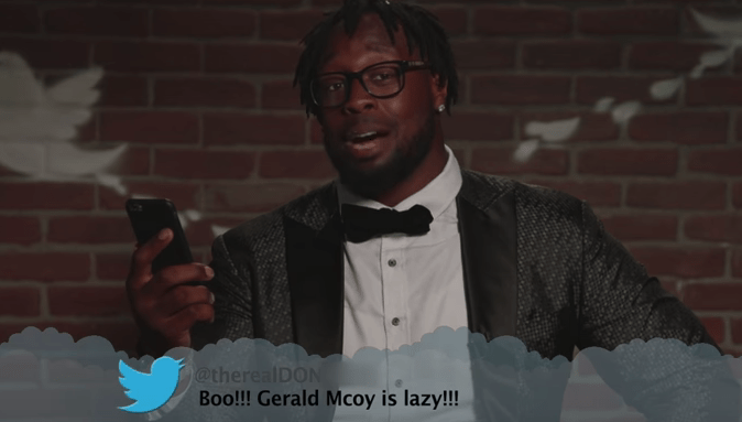 Tie - @therealDON Boo!!! Gerald Mcoy is lazy!!!