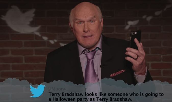 Speech - @Moony Terry Bradshaw looks like someone who is going to a Halloween party as Terry Bradshaw.