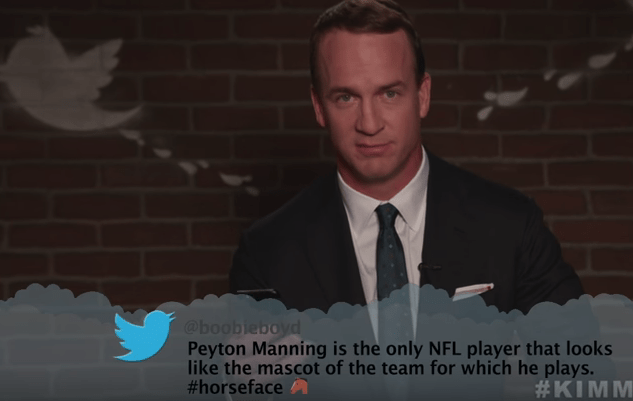 Text - @boobieboyd Peyton Manning is the only NFL player that looks like the mascot of the team for which he plays. #horseface #KIMM