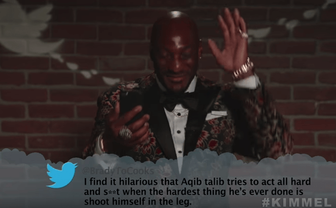Snapshot - @Brady ToCooks I find it hilarious that Aqib talib tries to act all hard and sr*t when the hardest thing he's ever done is shoot himself in the leg. #KIMMEL