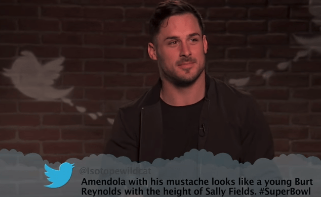 Cheek - @Isotopewildcat Amendola with his mustache looks like a young Burt Reynolds with the height of Sally Fields. #Su perBowl